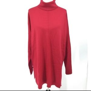 Eileen Fisher Large Turtleneck Tunic Sweater Red